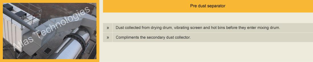 Pre dust separator for bag filter
